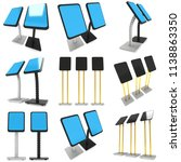 lcd screen stand. trade show... | Shutterstock . vector #1138863350