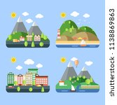 color vector flat icon set and... | Shutterstock .eps vector #1138869863