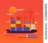warehouse and shipping port... | Shutterstock .eps vector #1138869896