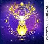 animation portrait of a horned... | Shutterstock .eps vector #1138873580