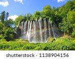 beautiful waterfalls with... | Shutterstock . vector #1138904156