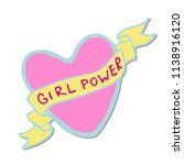 girl power quote. grl pwr hand... | Shutterstock .eps vector #1138916120