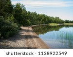 the shore of the lake with trees | Shutterstock . vector #1138922549