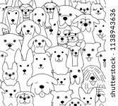 Seamless Doodle Dogs Line Art...