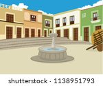 colonial old town fountain | Shutterstock .eps vector #1138951793