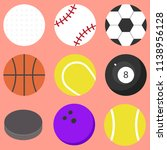 set of sports balls isolated.... | Shutterstock .eps vector #1138956128