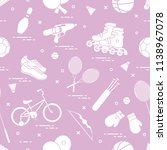 pattern with bicycle  rollers ... | Shutterstock .eps vector #1138967078