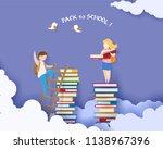 back to school 1 september card ... | Shutterstock .eps vector #1138967396