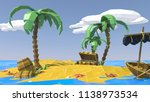 palm  sand  sea and summer. low ... | Shutterstock .eps vector #1138973534