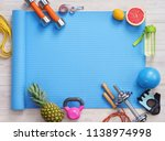 sports equipment and healthy... | Shutterstock . vector #1138974998