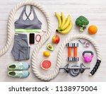 sports equipment and healthy... | Shutterstock . vector #1138975004