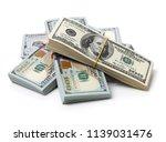 many bundle of us 100 dollars... | Shutterstock . vector #1139031476