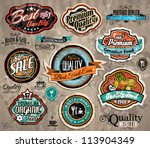 Stock vector set of premium quality vintage label with high contrast colors and water drops old style and 113904349