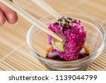 woman eating pink salmon...   Shutterstock . vector #1139044799