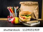 healthy school food concept ...   Shutterstock . vector #1139051909