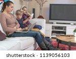 modern online family all using... | Shutterstock . vector #1139056103