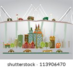 colorful city  roads and bridge | Shutterstock .eps vector #113906470