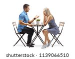 young man and a young woman... | Shutterstock . vector #1139066510