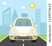 car on the highway  city on the ... | Shutterstock .eps vector #1139074613
