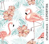 pink flamingo and palm leaves ... | Shutterstock .eps vector #1139089586