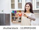 woman diet concept | Shutterstock . vector #1139092430