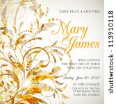 wedding card or invitation with ... | Shutterstock .eps vector #113910118