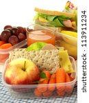 lunch box and healthy food on... | Shutterstock . vector #113911234