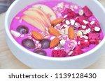 blended dragon fruit and yogurt ...   Shutterstock . vector #1139128430