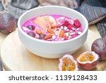 blended dragon fruit and yogurt ...   Shutterstock . vector #1139128433