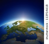 planet earth with sun rising... | Shutterstock . vector #113914618