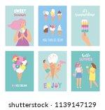 set of hello summer cards in... | Shutterstock .eps vector #1139147129