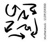 set of hand drawn vector arrows ... | Shutterstock .eps vector #1139154500