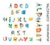 alphabet stationery letters... | Shutterstock .eps vector #1139161796