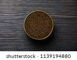 black caviar in can on black... | Shutterstock . vector #1139194880