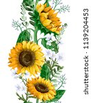 border with sunflowers bouquet... | Shutterstock .eps vector #1139204453