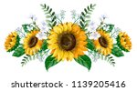 sunflowers bouquet with wild... | Shutterstock .eps vector #1139205416