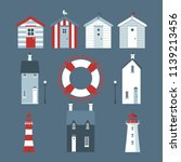 sea set with beach huts ... | Shutterstock .eps vector #1139213456