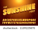 A stylized 3d vector alphabet with bright yellow sunshine effects