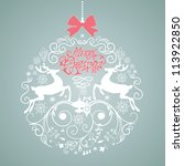 blue and white christmas ball... | Shutterstock .eps vector #113922850