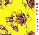 flowers on yellow  black and... | Shutterstock . vector #1139229659