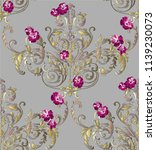 baroque pattern with damask... | Shutterstock . vector #1139230073