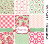 shabby chic rose patterns and... | Shutterstock .eps vector #113923438
