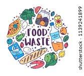 doodle concept of food waste... | Shutterstock .eps vector #1139241899