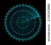 vector blue radar screen.... | Shutterstock .eps vector #1139242880