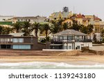 coastline  palms and old blocks ... | Shutterstock . vector #1139243180