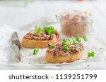 fresh and tasty bruschetta with ... | Shutterstock . vector #1139251799
