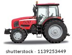 red tractor from one side ... | Shutterstock . vector #1139253449