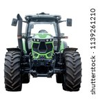 Big Green Tractor On White...
