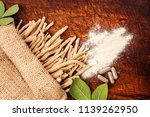 ashwagandha roots with powder... | Shutterstock . vector #1139262950