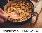 apple pie filling on wooden... | Shutterstock . vector #1139265053